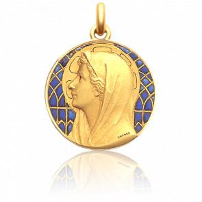 Médaille Vierge Au Voile 25 mm Email Bleu Or Jaune 18K