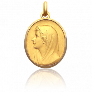 Médaille Vierge Au Voile 27 mm Or Jaune 18K