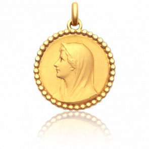 Médaille Vierge Au Voile Perlée 28 mm Or Jaune 18K