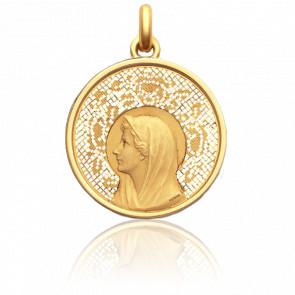 Médaille Vierge Au Voile 4 cm Ajourée en Or Jaune 18K