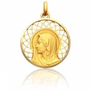 Médaille Vierge Regina 22 mm Or Jaune 18K
