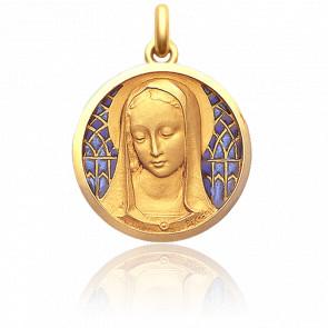 Médaille Santa Madona 25 mm en Email Bleu et Or Jaune 18K