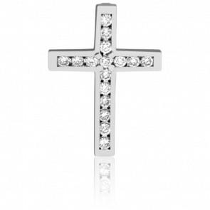 Croix Etincellante Or Blanc 18K