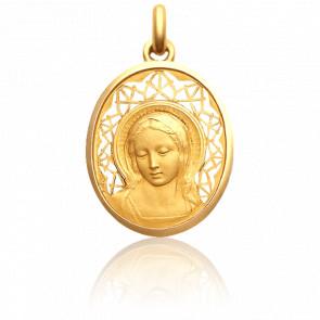 Médaille Vierge Amabilis 24 mm Ajourée en Or Jaune 18K