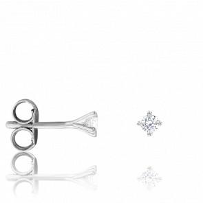Puces d'Oreilles Or Blanc 18K & Diamants 0,06 ct GSI