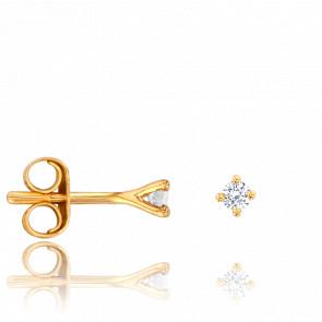 Puces d'Oreilles Or Jaune 18K & Diamants 0,06 ct GSI