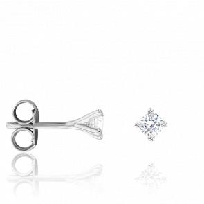 Puces d'Oreilles Or Blanc 18K & Diamants 0,11 ct GSI
