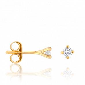 Puces d'Oreilles Or Jaune 18K & Diamants 0,11 ct GSI