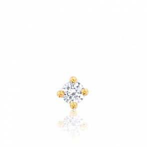 Puce d'Oreille Solitaire Diamant & Or Jaune 18K