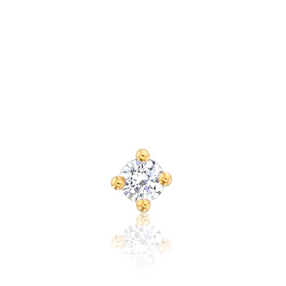 1 Puce d'Oreille Solitaire Diamant & Or Jaune 18K