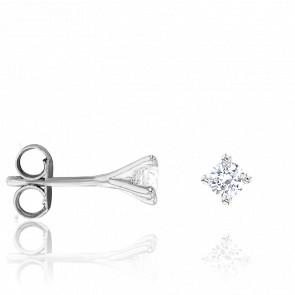 Puces d'Oreilles Or Blanc 18K & Diamants 0,20 ct GSI