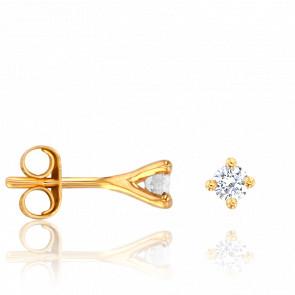 Puces d'Oreilles Or Jaune 18K & Diamants 0,20 ct GSI