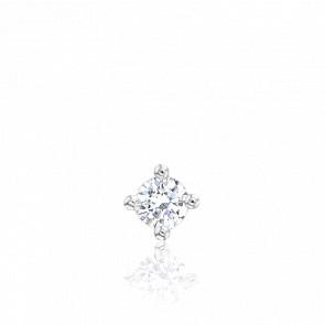 1 Boucle d'Oreille Solitaire Diamant 0,09 ct, Or Blanc 18K