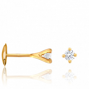 Puces d'Oreilles Or Jaune 18K & Diamants 0,30 ct GSI