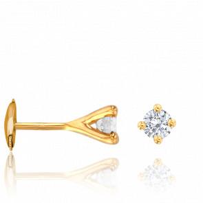 Puces d'Oreilles Diamants 0,40ct GSI & Or Jaune 18K