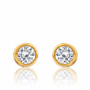 Puces d'oreilles diamant 0,11 carat GSI & or jaune 18K
