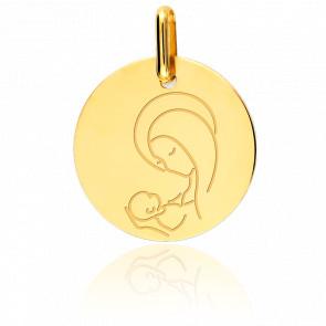 Médaille Vierge A l'Enfant Or Jaune 9K - Lucas Lucor