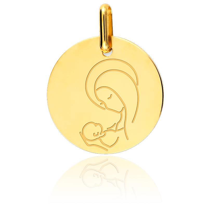 Médaille Vierge A l'Enfant Or Jaune 9K