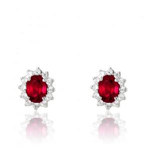 Puces d'oreilles rubis, diamants et or blanc 18 carats
