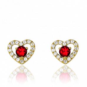 Boucles d'oreilles coeur rubis, diamants et or jaune 18 carats