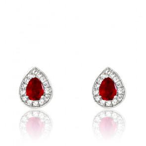 Boucles d'oreilles rubis et diamants en or blanc 18K