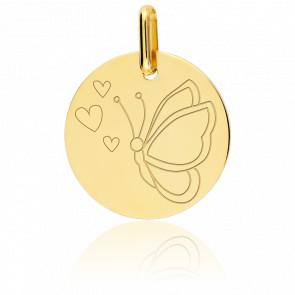 Médaille Papillon Or Jaune 9K