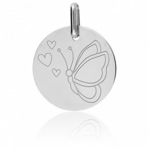 Médaille Papillon Or Blanc 9K