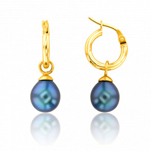 Créoles perles de Tahiti et or jaune 18 carats