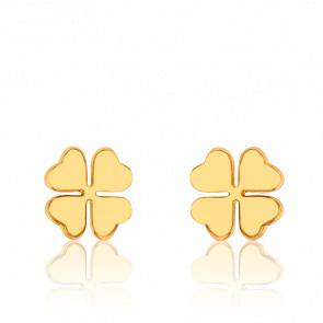 Boucles d'oreilles trèfle à 4 feuilles, plaqué or jaune