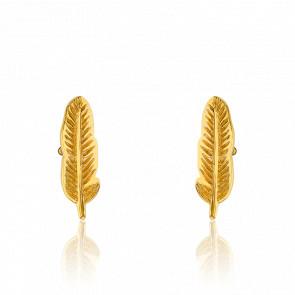 Boucles d'oreilles plume, plaqué or jaune