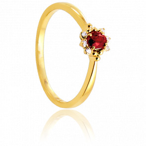 Bague Arti Or Jaune 18K, rubis et diamants