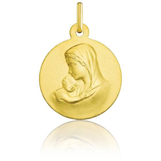 Médaille Ronde Vierge Maternité Lisse Or Jaune 18K
