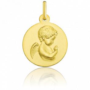 Médaille Ronde Ange en Prière Lisse Or Jaune 18K