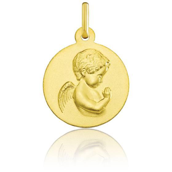 Médaille Ronde Ange en Prière Or Jaune 18K