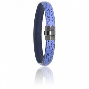Bracelet 606 Cuir de Requin Bleu & Acier Noir