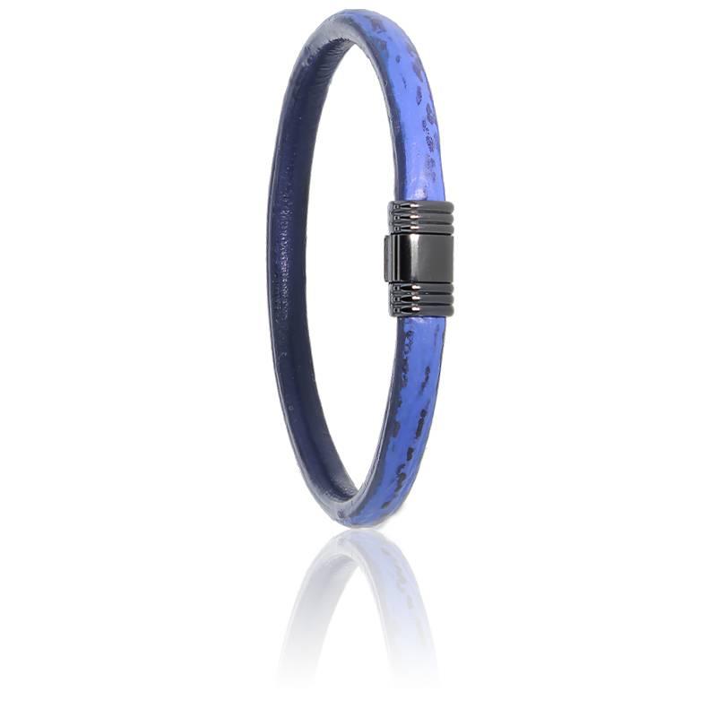 Bracelet 608 Cuir de Requin Bleu & Acier Noir