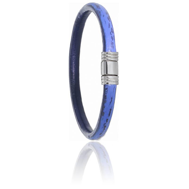 Bracelet 608 Cuir de Requin Bleu & Acier
