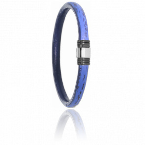 Bracelet 614 Cuir de Requin Bleu, Acier & Or Blanc 18K