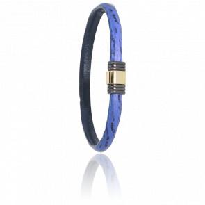 Bracelet 614 Cuir de Requin Bleu, Acier & Or Jaune 18K