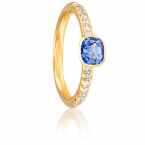Bague Eulalie Or Jaune 18K, Saphir et diamants