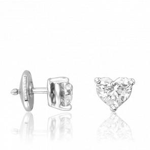 Puces d'Oreilles Coeurs Diamants 1,02ct & Or Blanc 18K