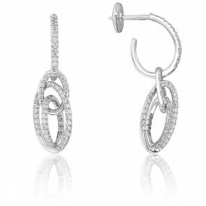Boucles d'Oreilles Alysé Or Blanc 18K et Diamants