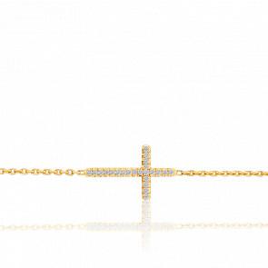 Bracelet Croix en Or Jaune 18K et Diamants