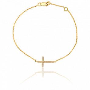 Bracelet Croix en Or Jaune 18K et Diamants - ALM Joaillerie
