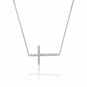 Collier Croix en Or Blanc 18K et Diamants