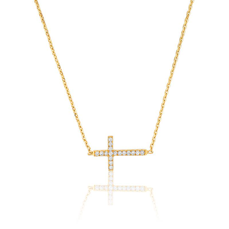 collier croix en or jaune 18 carats et diamants ocarat. Black Bedroom Furniture Sets. Home Design Ideas