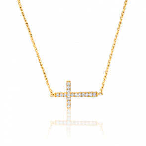 Collier Croix en Or Jaune 18K et Diamants