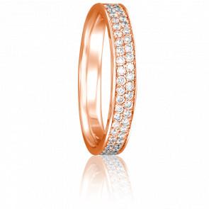Alliance Pommelière Or Rose 18K et Diamants