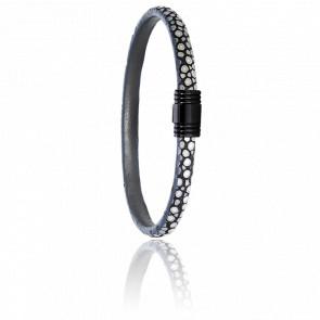 Bracelet 608 Galuchat Gris & Acier Noir