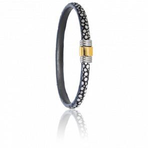 Bracelet 614 Galuchat Gris, Acier & Or Jaune 18K
